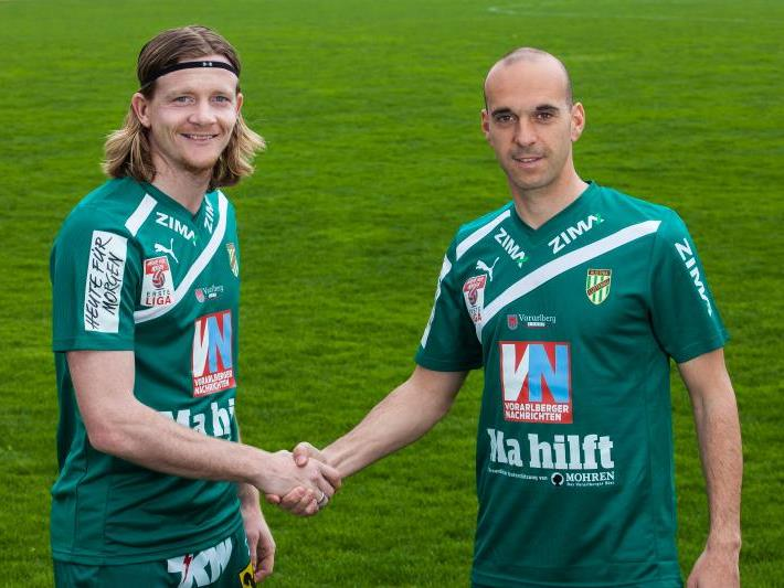 Die Austria-Kicker Sascha Boller und Harald Dürr freuen sich auf das Derby gegen Altach.
