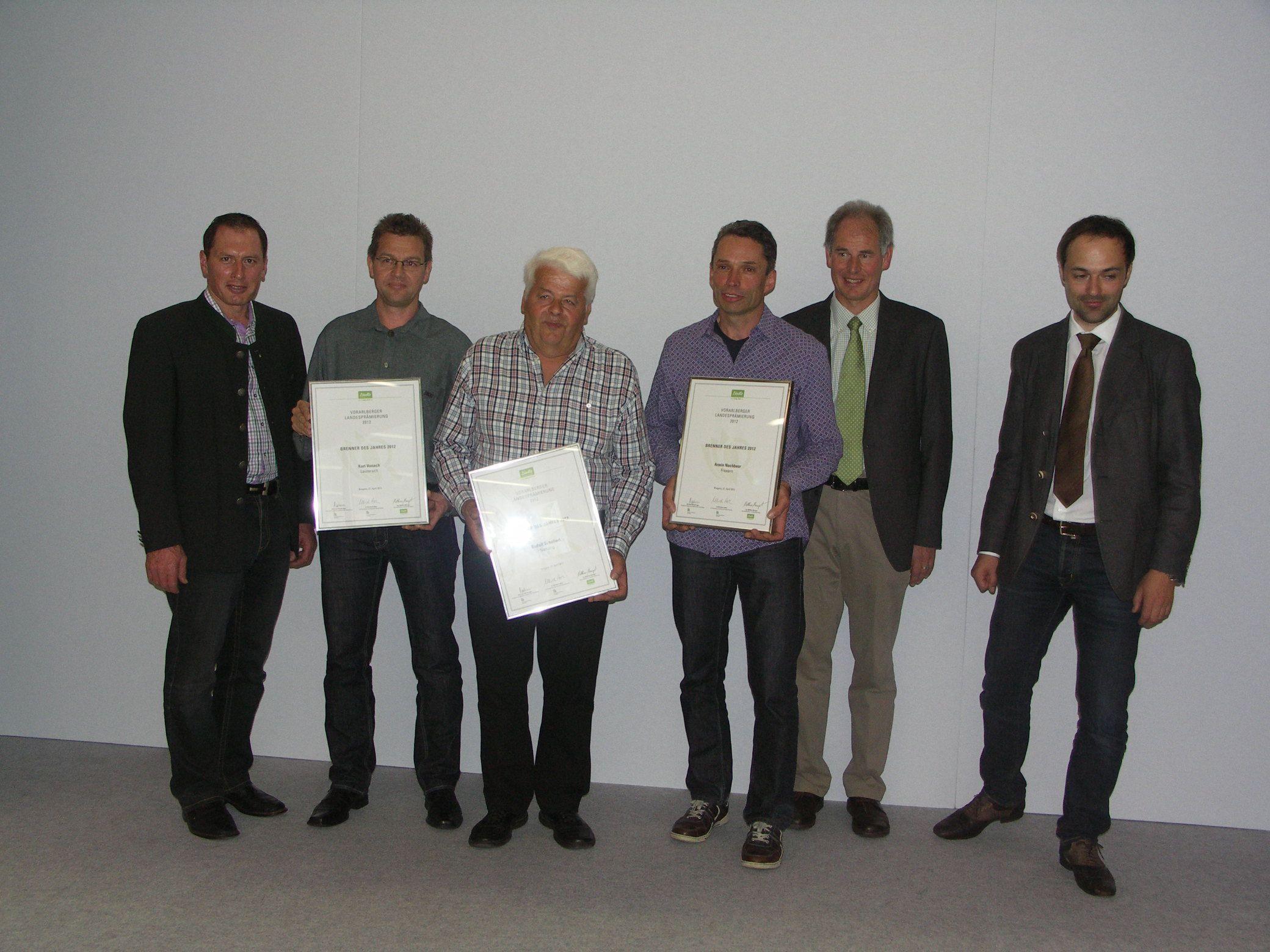 Brenner des Jahres 2012: Armin Nachbaur (3.v.re.), Rudolf Schallert (4.v.re.) und Kurt Vonach (5.v.re.)