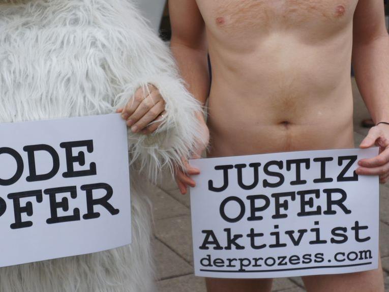 Ein Bild vom Nacktprotest der Tierschützer vom VgT in Wien