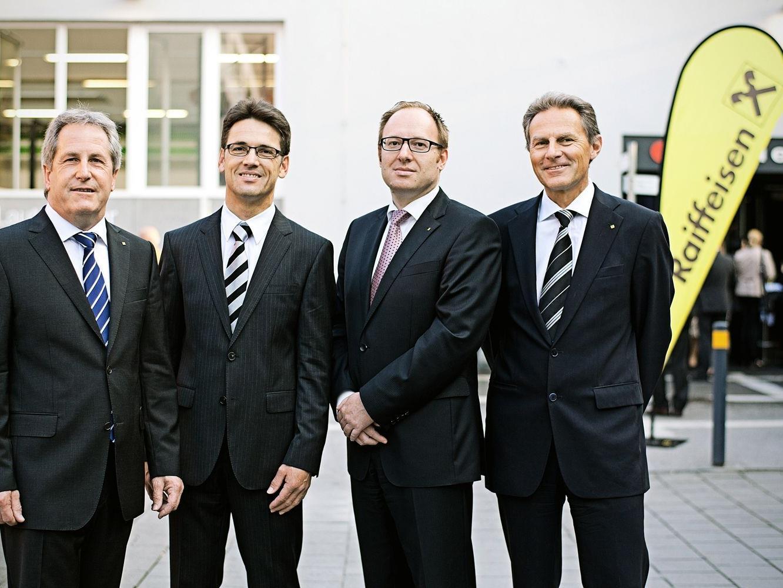 Aufsichtsratsvorsitzender Anton Rein mit den Vorstandsdirektoren Dr. Wilfried Amann, Dr. Gernot Erne und Dr. Wolfgang Zumtobel.