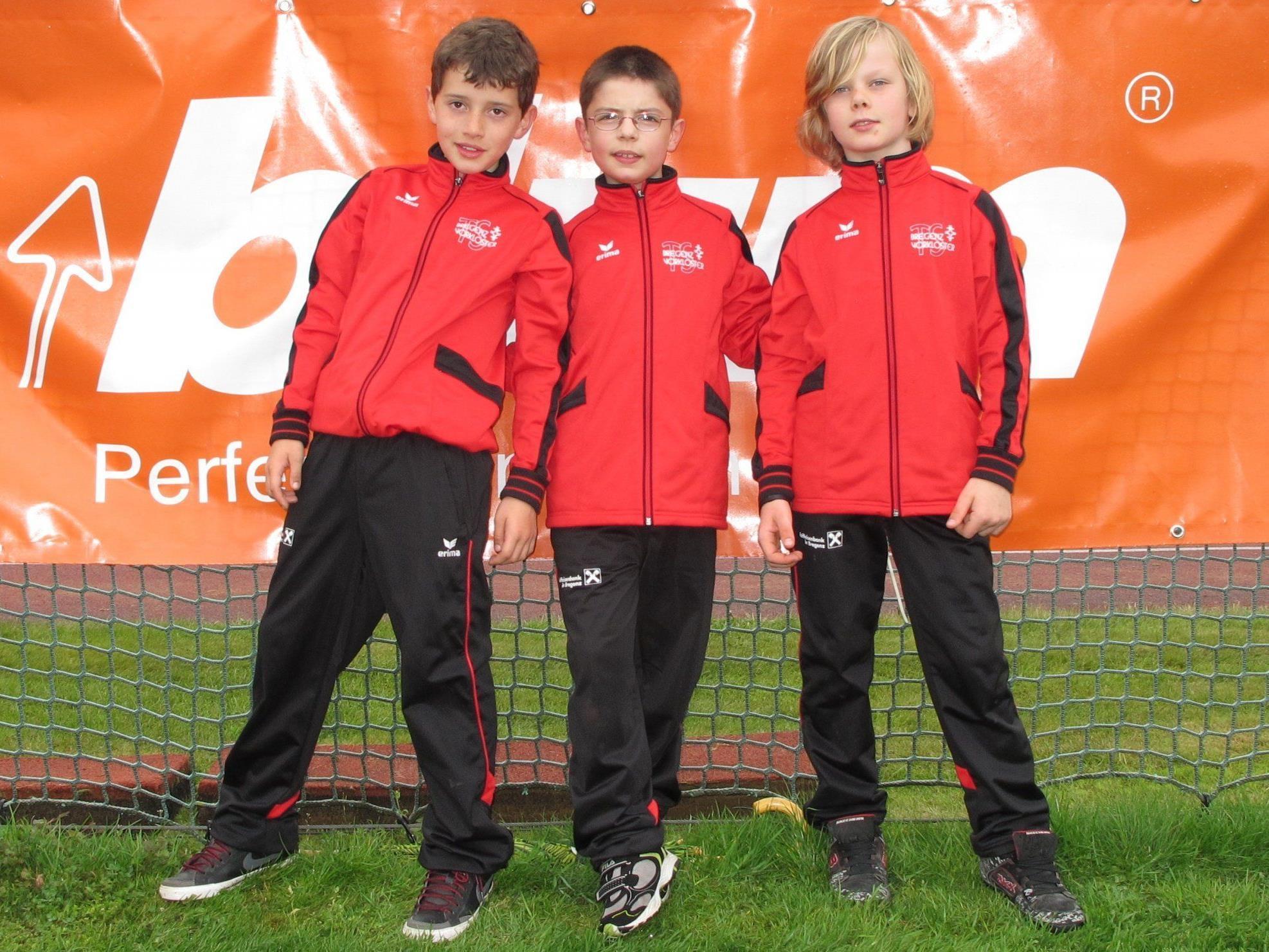 Das siegreiche Team der TS Bregenz-Vorkloster mit Anton Maurer, Nico Hauser und Aaron Strabler.
