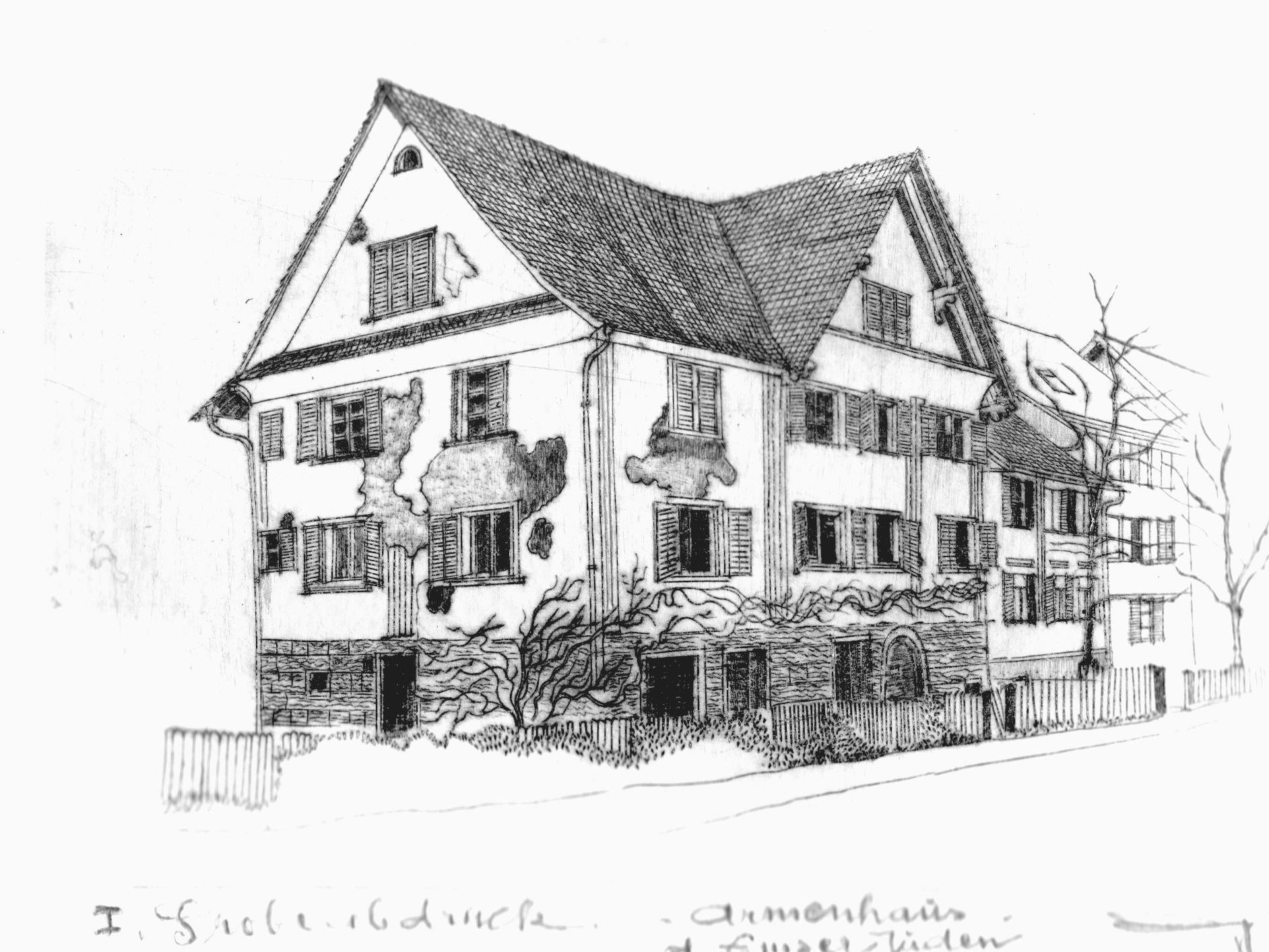 Gernot Peter: Jüdisches Armenhaus - Kupferstich