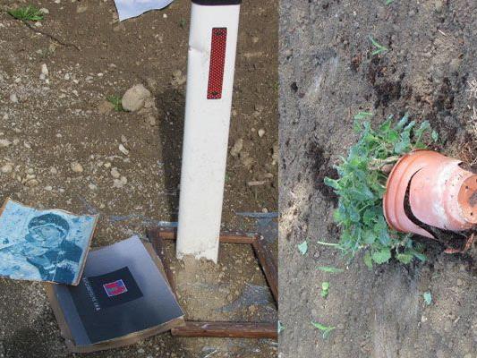 So sah das Marterl aus, nachdem es im Bezirk Amstetten von Vandalen beschädigt wurde