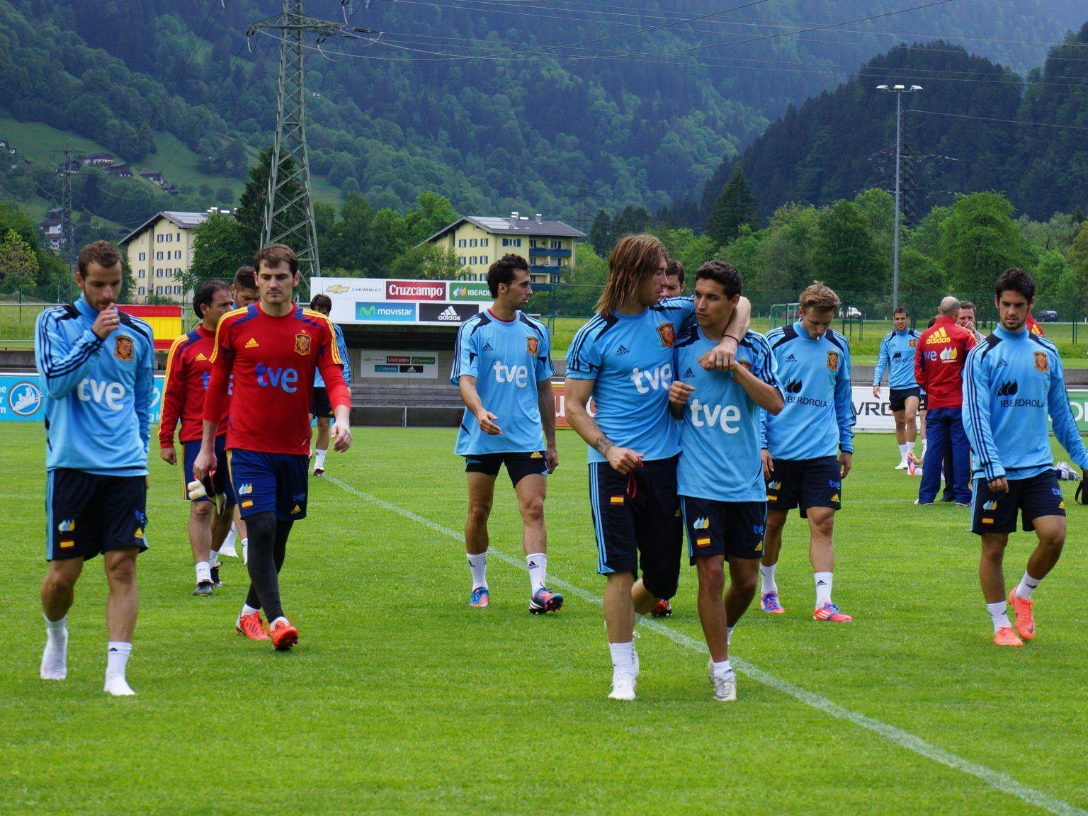 Spaniens Nationalteam nach dem ersten Training in Schruns.