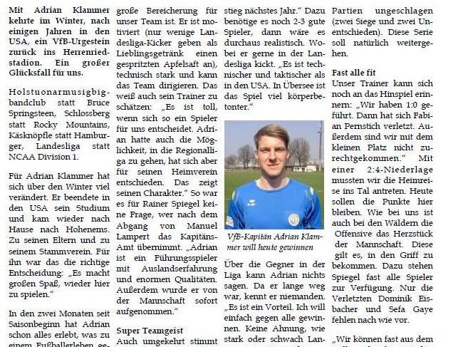 Landesliga-Heimspiel des VfB Hohenems gegen den FC Langenegg am Sa. 12.05.2012 um 16:00 Uhr