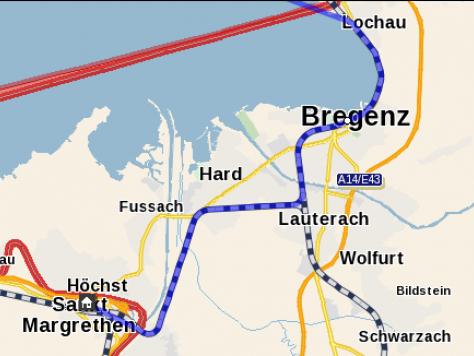 Der Weg der Bahn von Lochau über Bregenz, Hard, Lauterach, Wolfurt bis Lustenau.