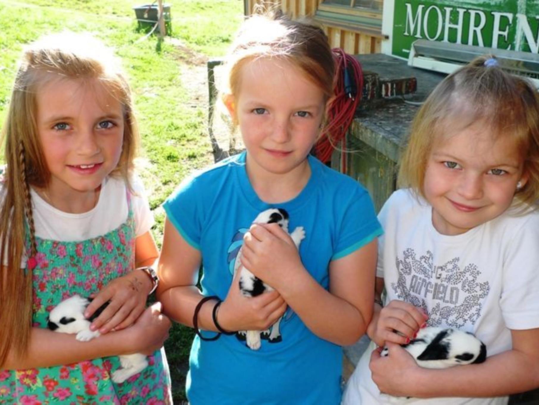 Paula, Nea und Miriam genossen die Zeit mit den süßen Hasenbabys.