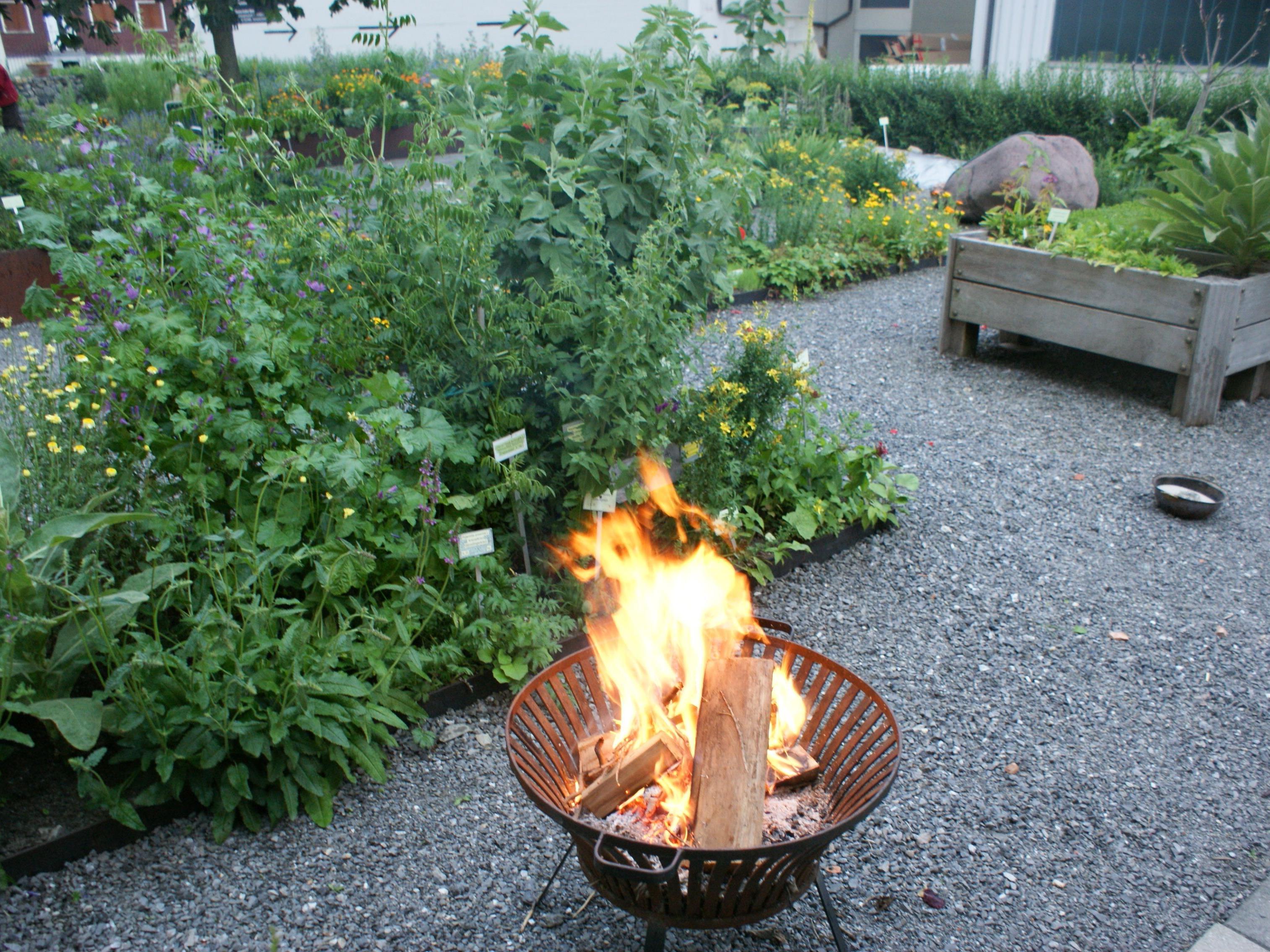 Das Feuer zur Sonnwende im Kräutergarten