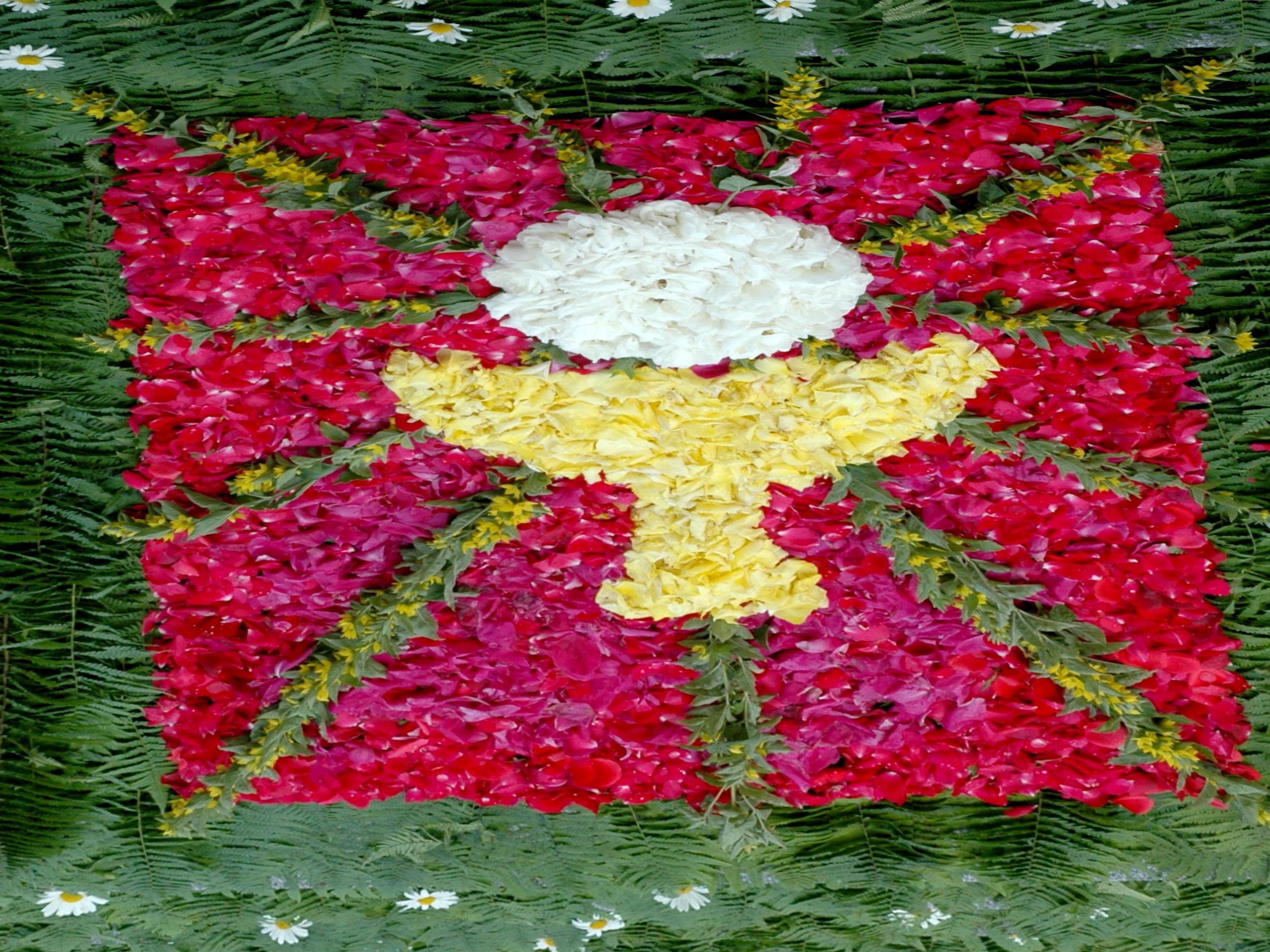 Der Blumenteppich vor der Hörbranzer Kirche (Ausschnitt)