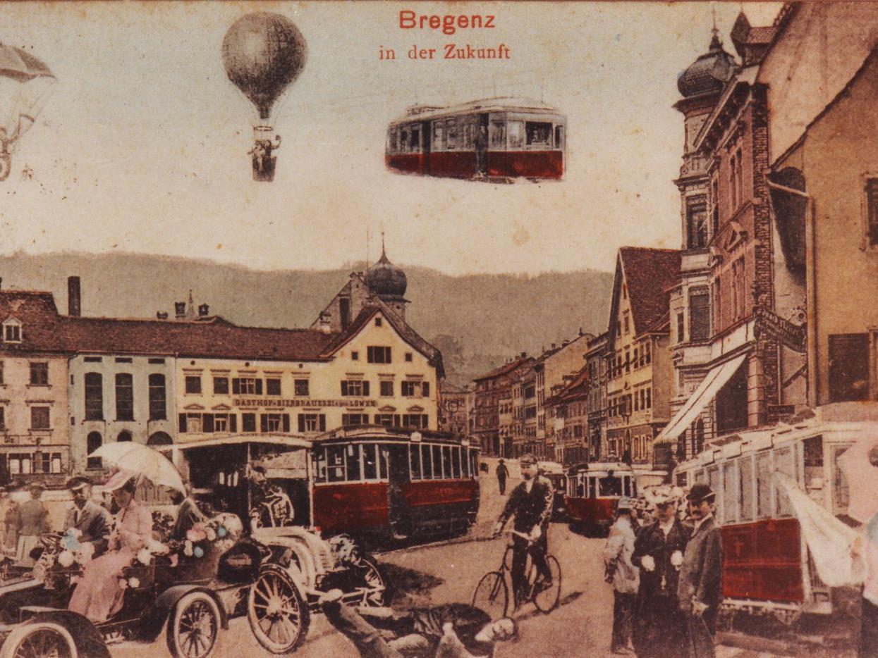 Bregenz in der (Verkehrs-)Zukunft: die Straßenbahn ist Vision geblieben, die Seilschwebebahn auf den Pfänder 1927 Wirklichkeit geworden.