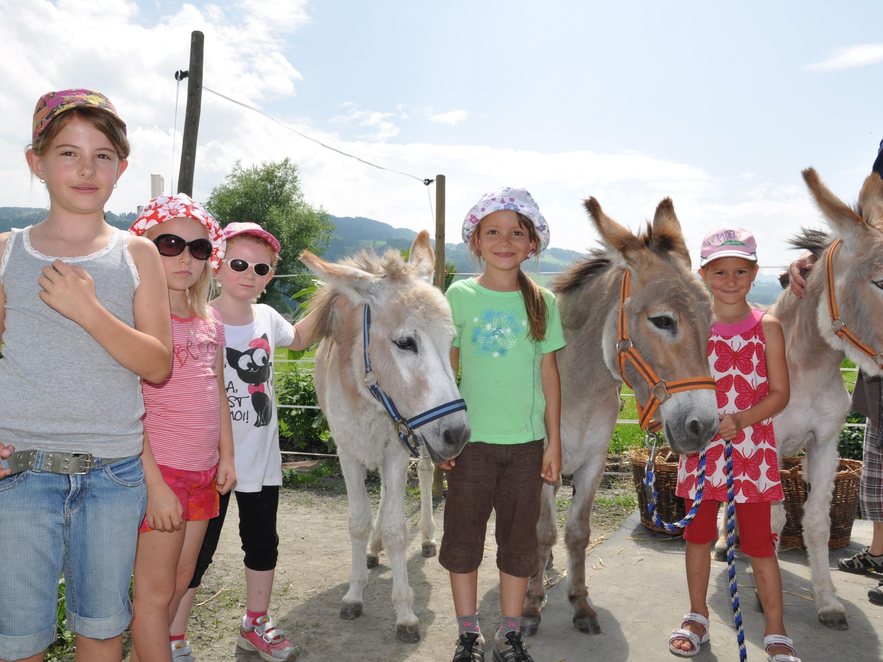 DIe erste Klasse und Vorschule der Volksschule Gaißau machte eine Exkursion zu Renate Burdas Eseldamen.