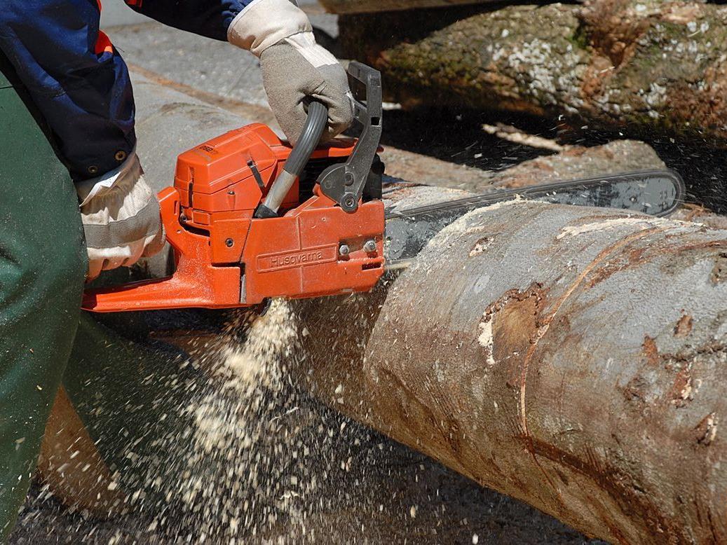 Holzarbeiten machen eine Wegsperre in Partenen notwendig. SYMBOLFOTO