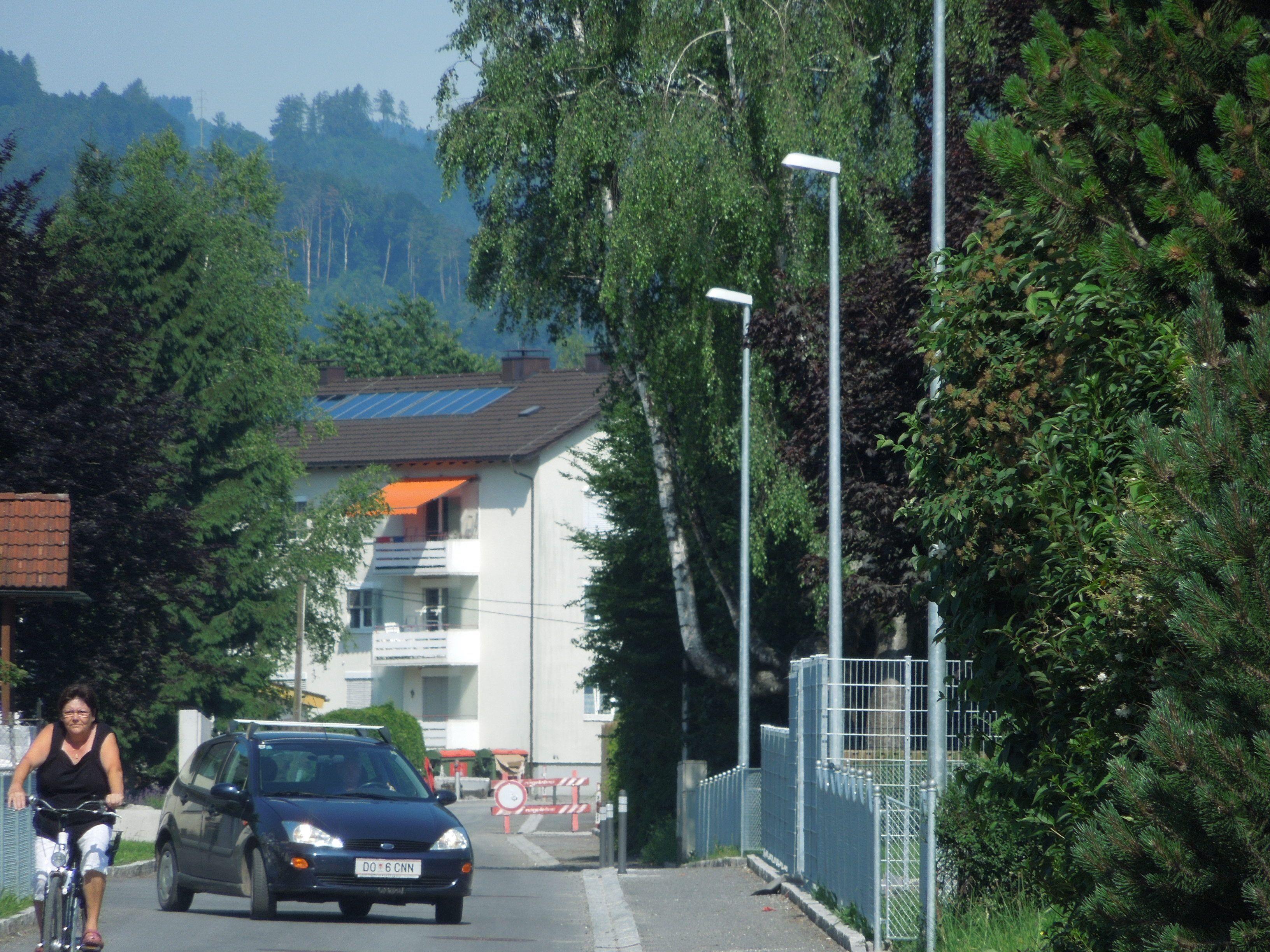 Franz Riedmann findet, dass im Zuge der Kanalisierungsarbeiten im Süden Lustenaus, zu viele neue Lichtmasten errichet wurden.