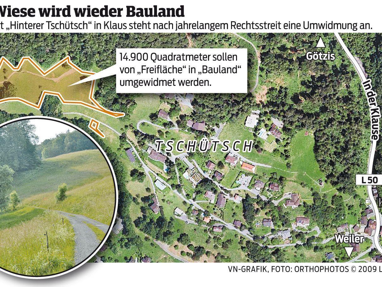 """Aus Wiese wird wieder Bauland. Im Gebiet """"Hinterer Tschütsch"""" in Klaus steht nach jahrelangem Rechtsstreit eine Umwidmung an."""