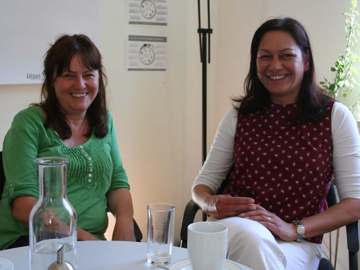 Koordinatorin Ruthilde Thaler-Feuerstein im Gespräch mit Olivia Martin-Ganahl.