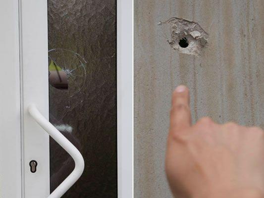 Ein Projektil zerstörte die Glasscheibe in der Haustüre von Roswitha Schrittesser. Beim Tennis Center Haselstauden wurde die Aufschlagwand durchlöchert.