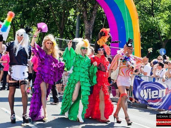 """""""Born This Way"""" war das Motto der Regenbogenparade 2012 in Wien."""