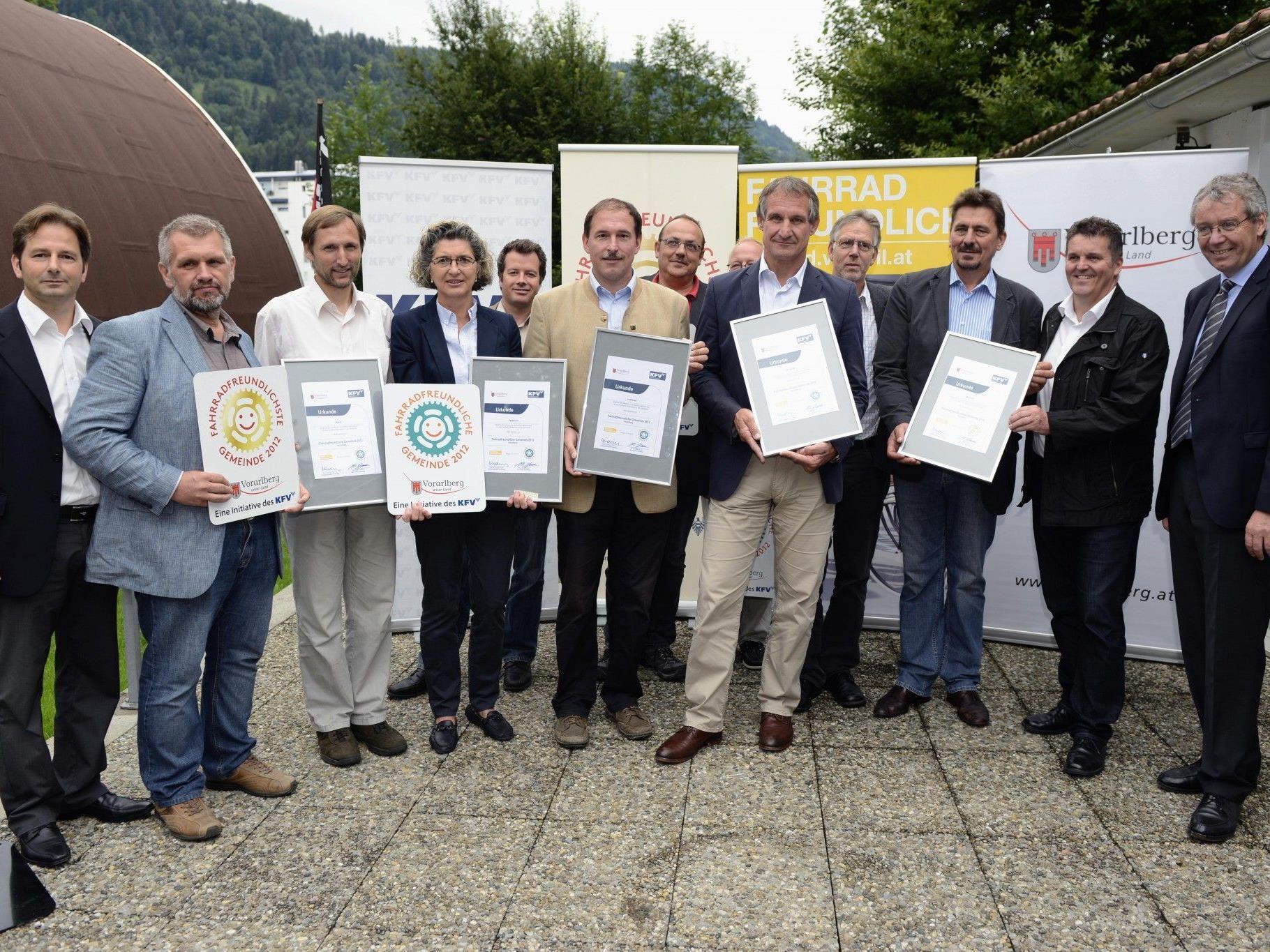 """Preisverleihung """"Fahrradfreundlichste Gemeinden 2012 in Vorarlberg"""""""