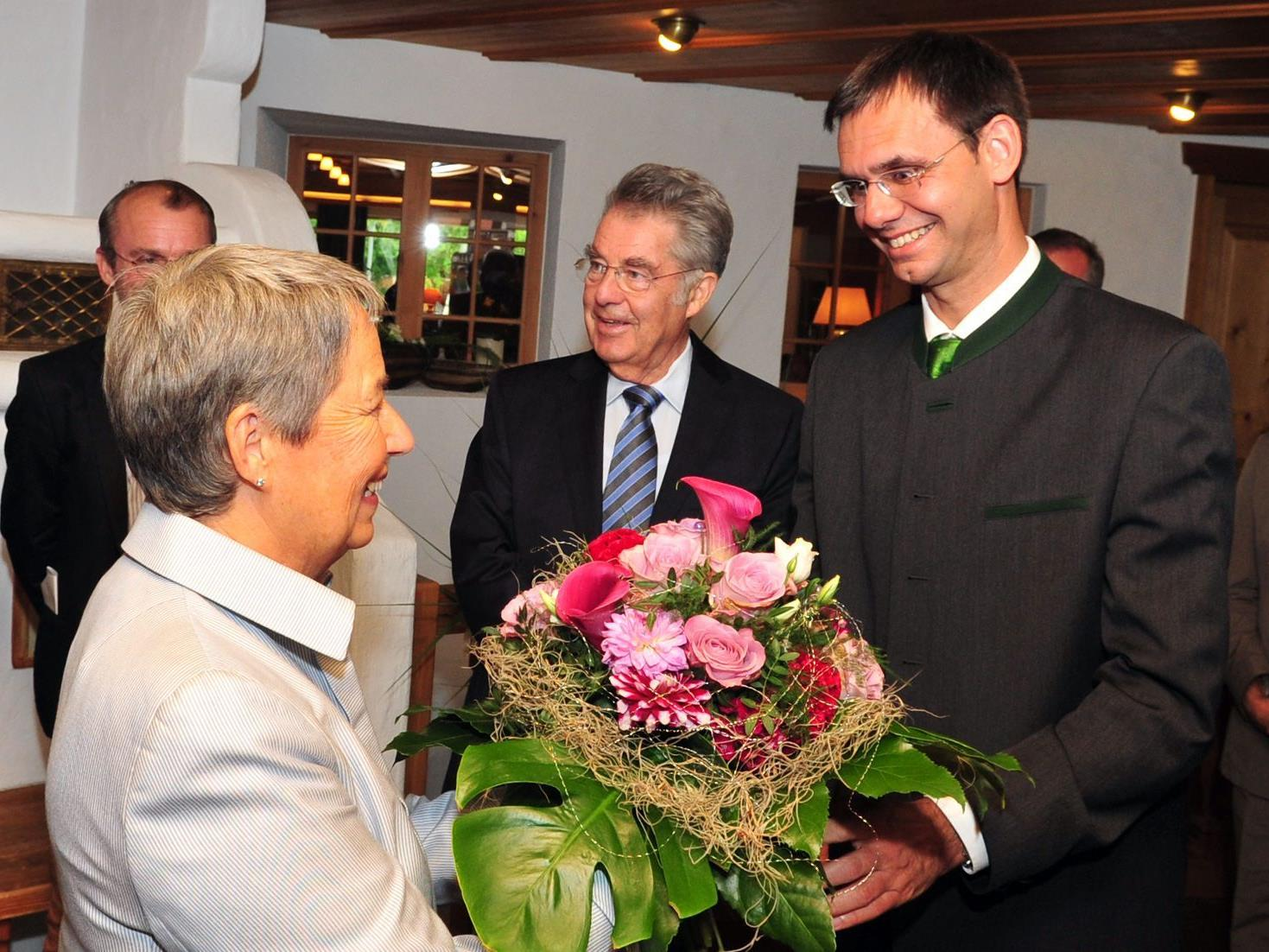 LH Wallner begrüßte Bundespräsident Heinz Fischer und dessen Frau Margit in Vorarlberg.