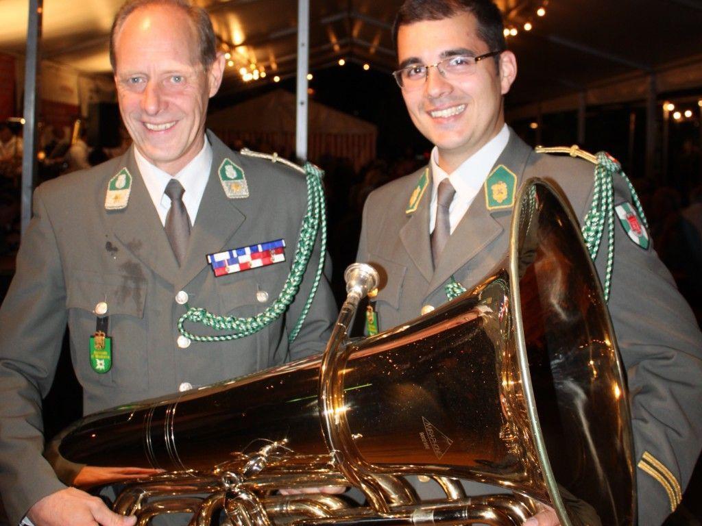 Blasmusik vom Feinsten mit der Militärmusik Vorarlberg, im Bild Vizeleutnant Alois Jäger und Kapellmeister Leutnant Wolfram Öller.