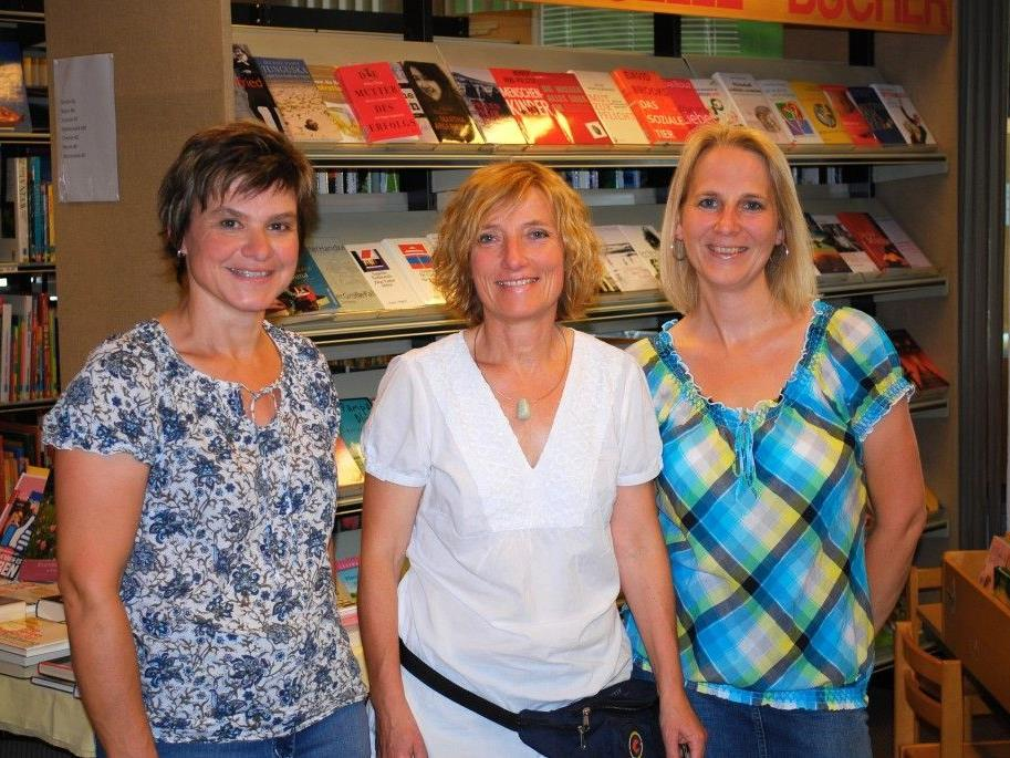 Die Mitarbeiterinnen der Bibliothek Rankweil: (v.l.n.r.) Karin Breuß, Maria Berloffa und Karin Jochum