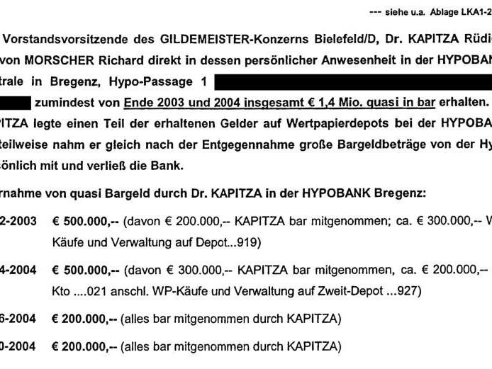 """Auszug aus einem Bericht des Landeskriminalamts: """"Große Bargeldbeträge von der Hypo persönlich mitgenommen."""""""