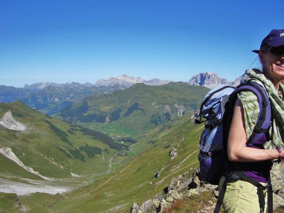 Wanderführerin Waltraud Griesser auf dem Gafierjoch.