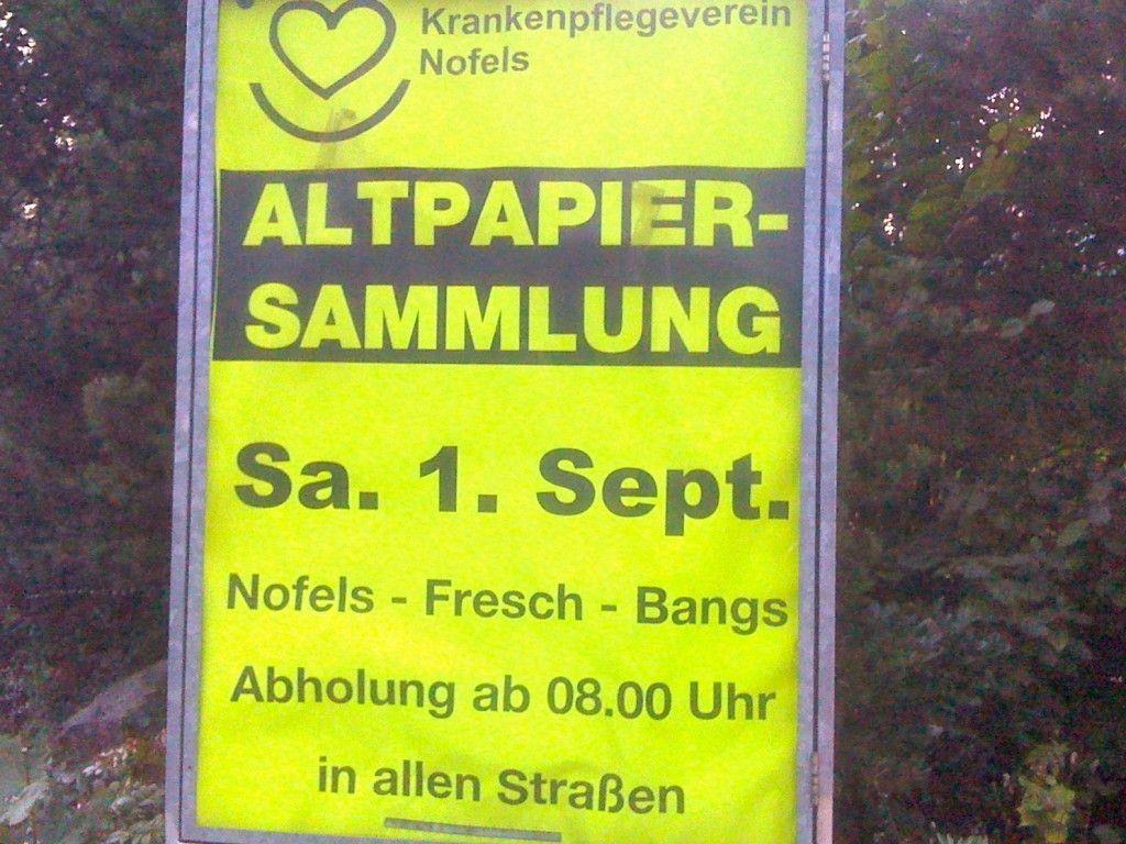 Am Samstag, 1. September sammelt der Krankenpflegeverein Nofels wieder fleißig Altpapier