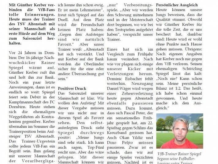 Saisonauftakt in der Landesliga für den VfB Hohenems am Sa. 11. August um 17:00 Uhr im Herrenriedstadion