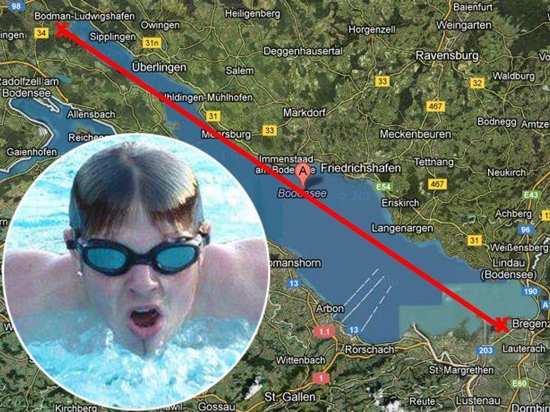 Schafft er die Durchquerung des Bodensees? Maximilian Melyarki schwimmt für einen guten Zweck.