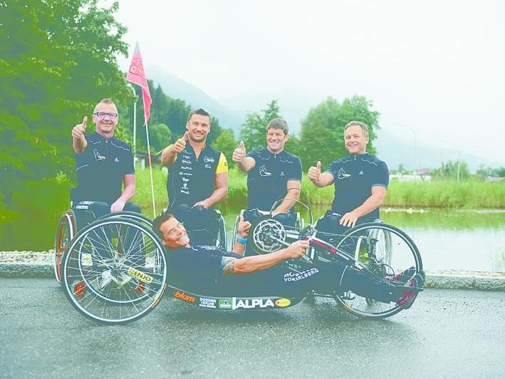 Bereit für eine gute Tat von schweißtreibendem Charakter: Rollstuhlclub Enjo Vorarlberg.