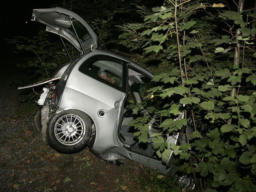 Mopedauto kam aus noch unbekannter Ursache von der Fahrbahn ab.