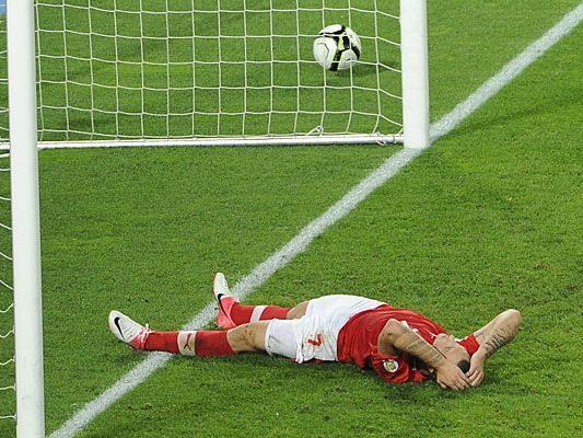Ein sichtlich geknickter Marko Arnautovic beim WM-Qualifikationsspiel zwischen Österreich und Deutschland