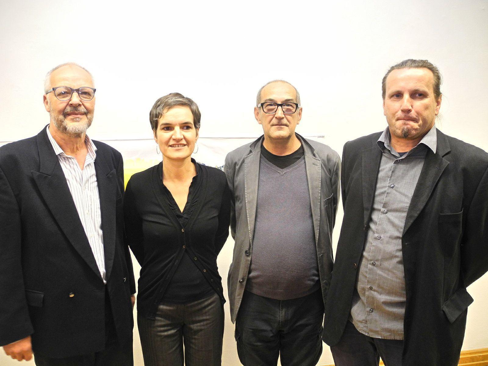 (l.) Die vier Künstler Hubert Lampert, Doris Fend, Hubert Matt und Fridolin Welte zeigen im Palais Liechtenstein ihre Werke