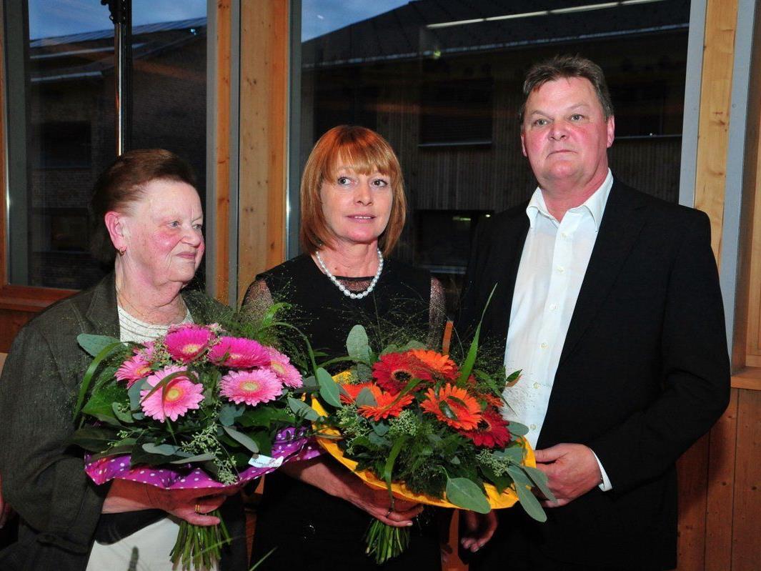 Erich Moosbrugger mit Gattin Klara und Seniorchefin Mariele Moosbrugger