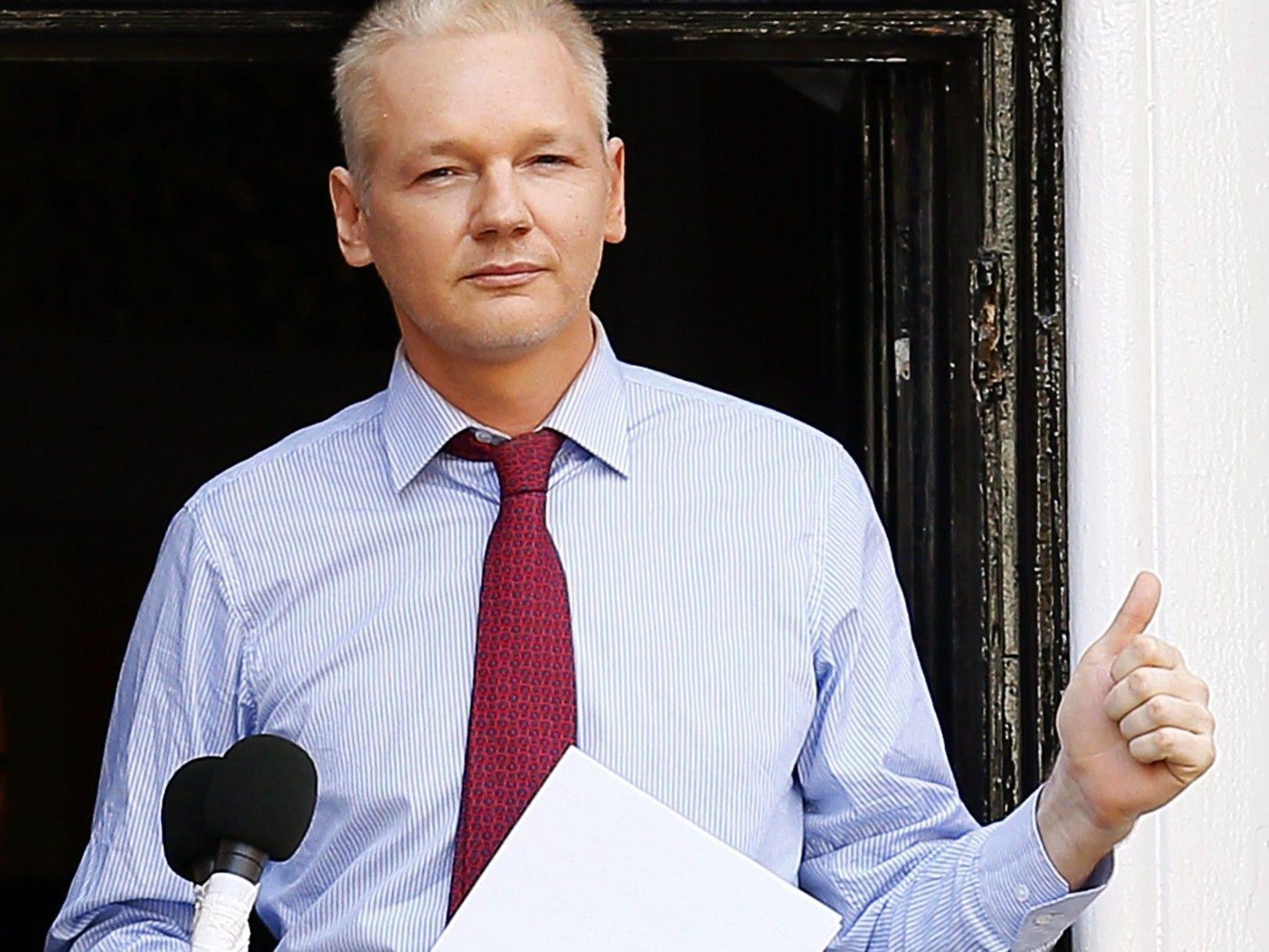 Julian Assange in der Botschaft von Ecuador.