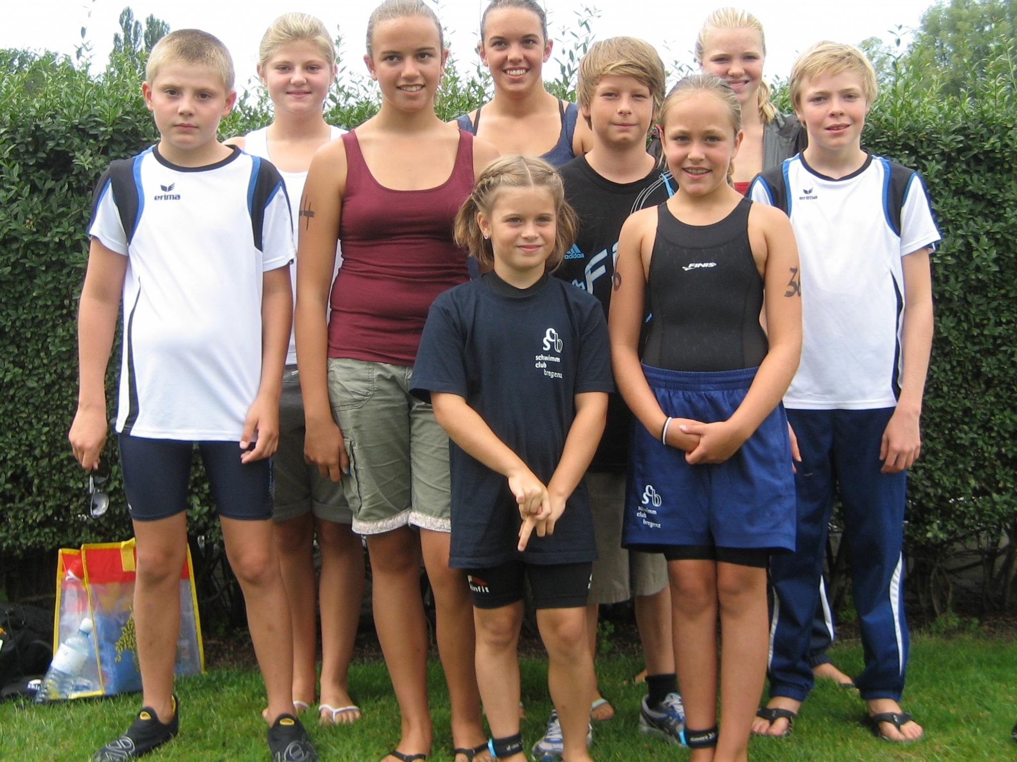 vlnr: Jonas, Anne-Sophie, Caroline, Paula, Magdalena, Lukas, Lisa, Johanna und Wendelin