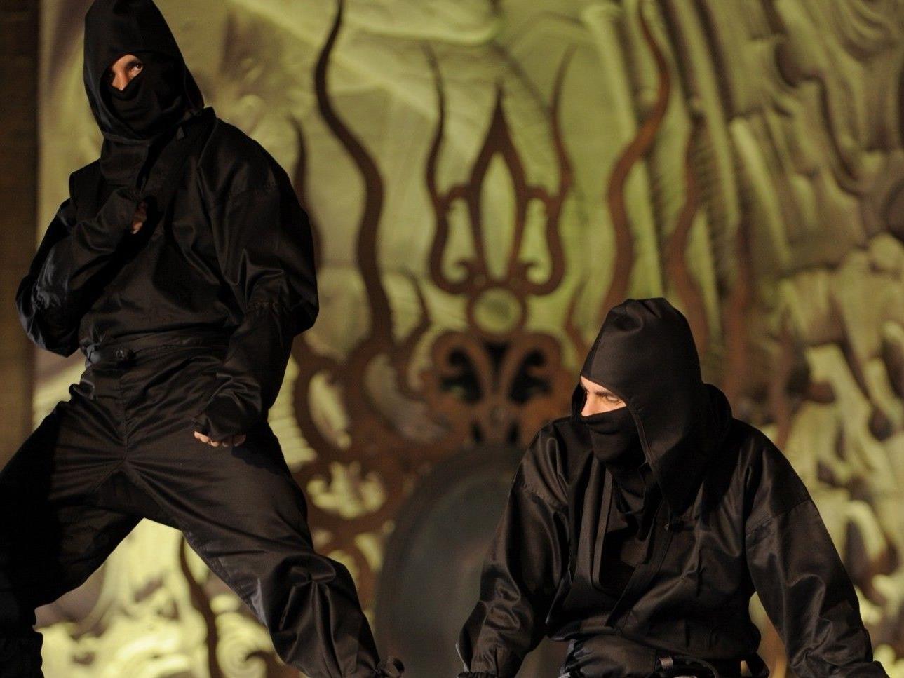 Ninjas kriechen während des Films durch die Reihen und ermahnen ungezogene Gäste.