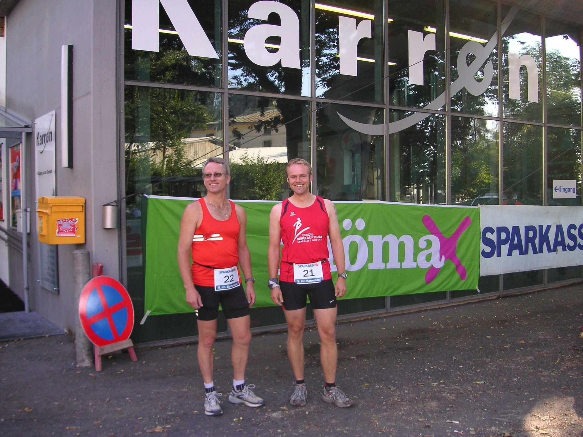 Ralf Schroeder und Sascha Walch nutzten den Karrenlauf als Trainingseinheit für die Vereinsmeisterschaft in Gargellen