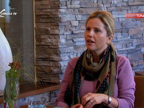 Michaela Schaffrath beim Interview im Tamborino in Götzis