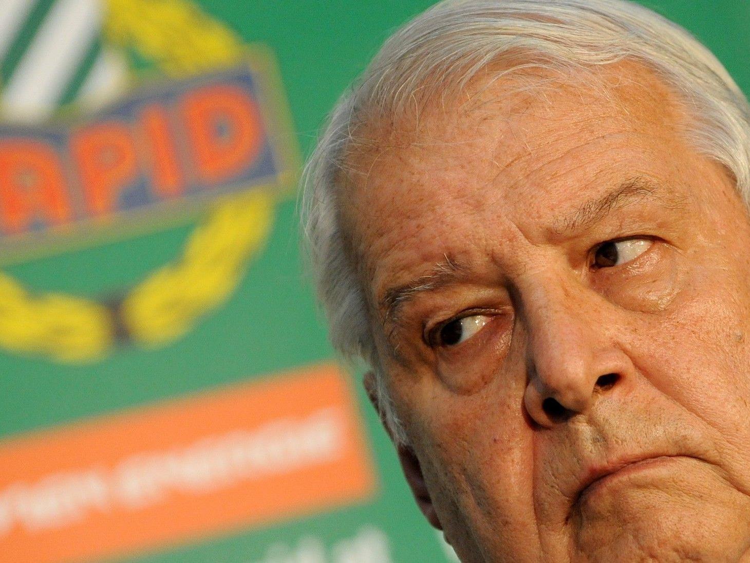 """Rapid-Präsident Edlinger spricht von einem """"schweren Schlag"""". Die UEFA-Strafe inkl. Geisterspiel bleibt aufrecht."""