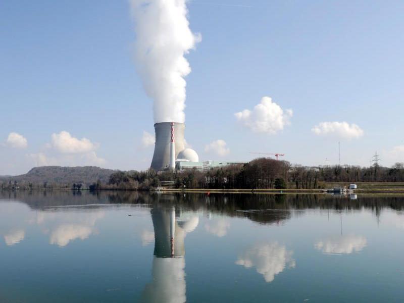 Dampf steigt aus dem Kuehlturm des Atomkraftwerkes Leibstadt (Schweiz) am Rhein