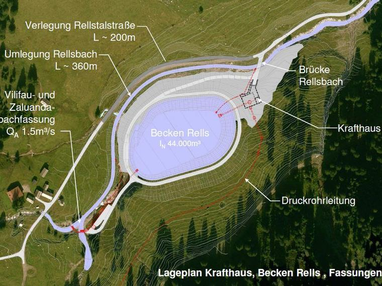 Lageplan des neuen Rellstal-Kraftwerkes