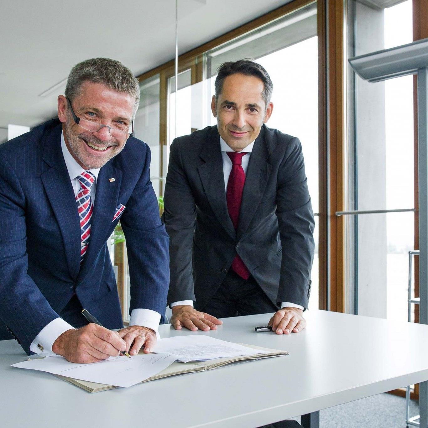 Konrad Schnyder, CEO und Inhaber der Sersa Group und Hubert Rhomberg, CEO der Rhomberg Gruppe.