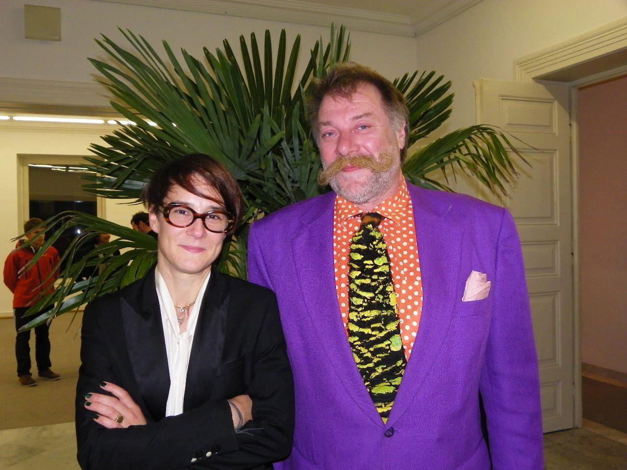 Künstlerin Susanne Winterling und Dr. Willi Meusburger, Präsident der Künstlervereinigung Vorarlberg