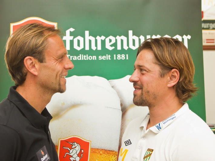 Altach Trainer Rainer Scharinger und Austria Lustenau Coach Helgi Kolvidsson kennen sich bestens.
