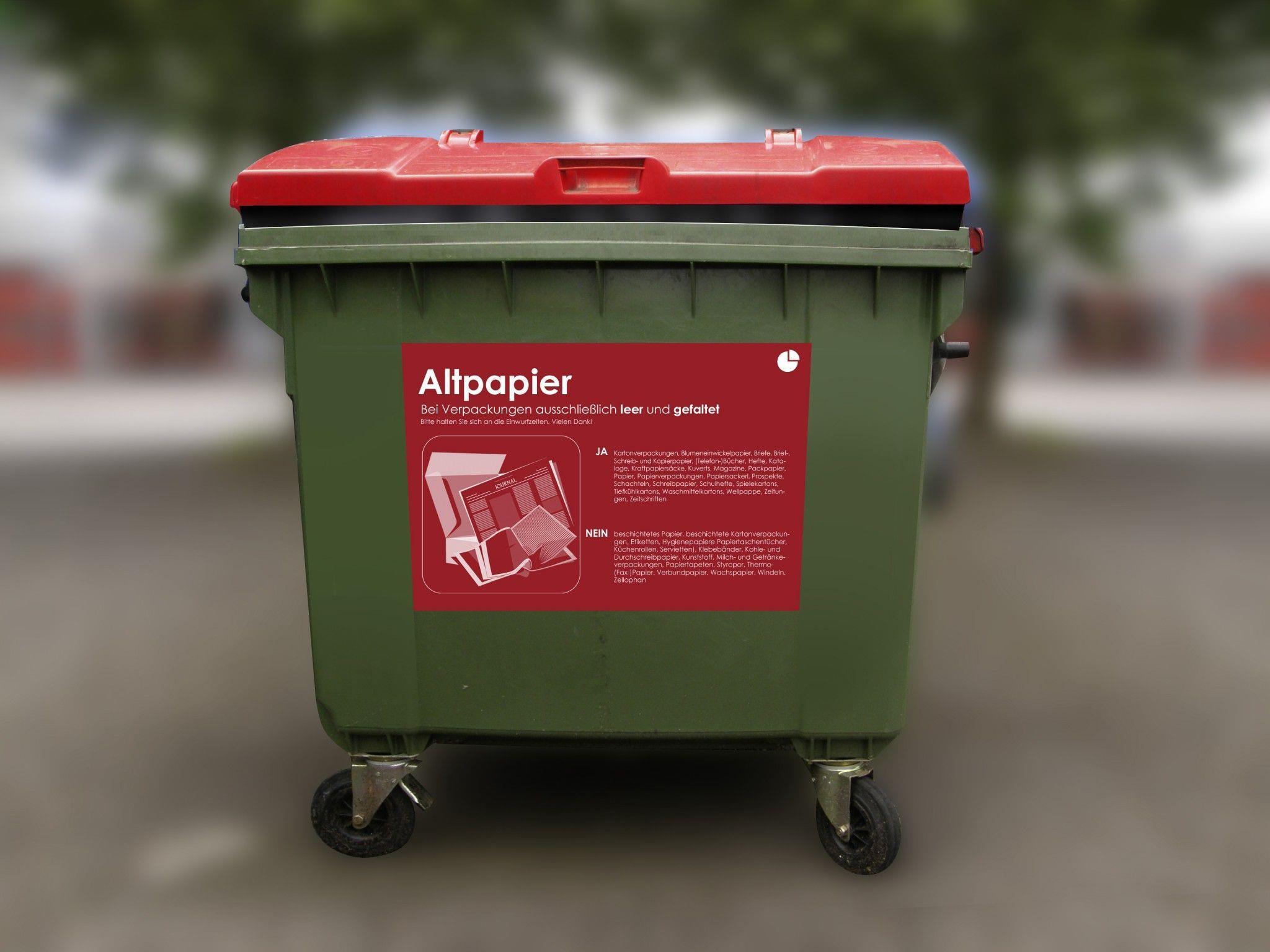Für die Holsammlung gibt es Papiertonnenbehälter mit 240 Liter und 120 Liter Fassungsvermögen.