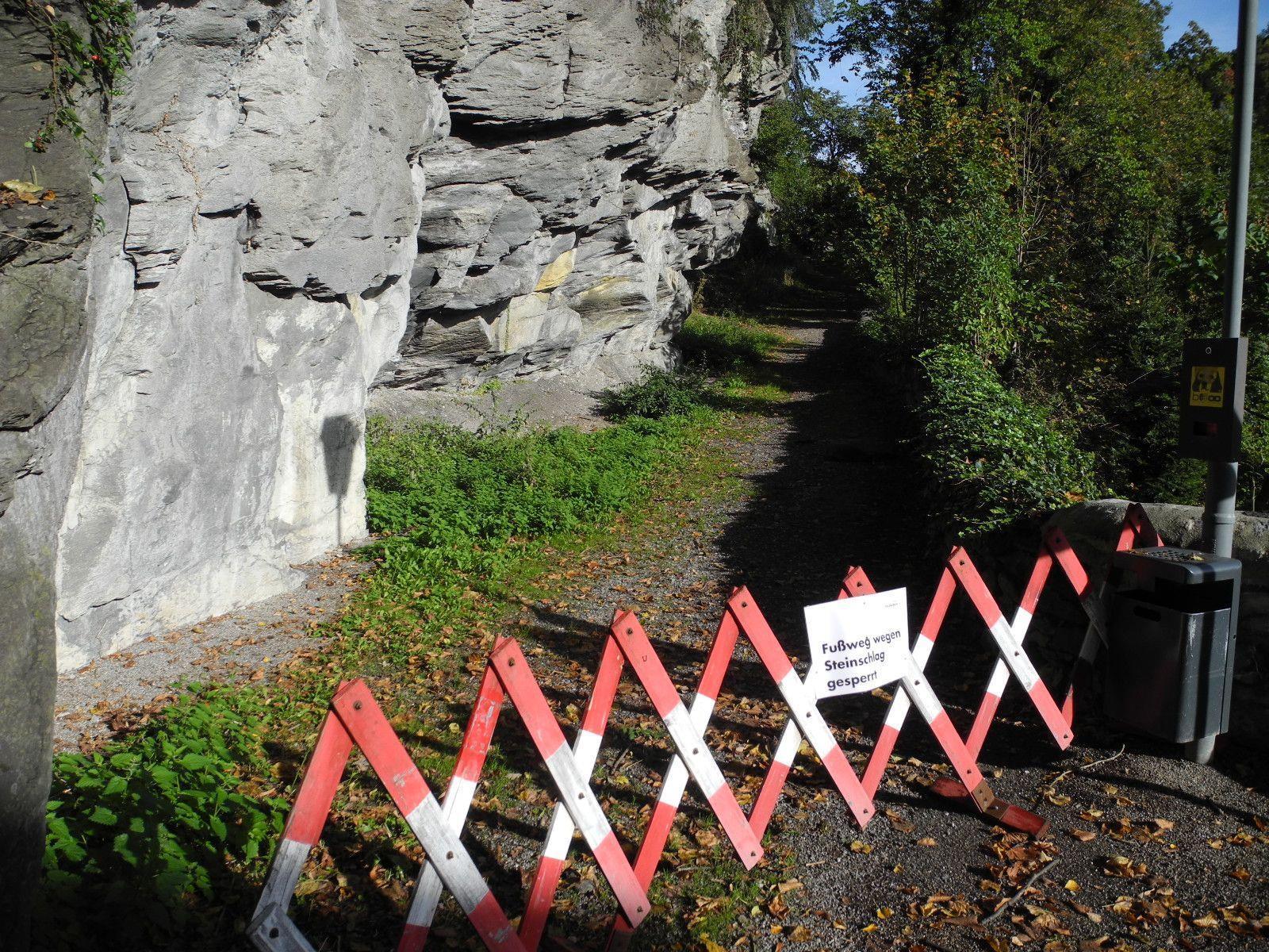 Der Weg über den Margarethenkapf musste wegen Steinschlaggefahr gesperrt werden