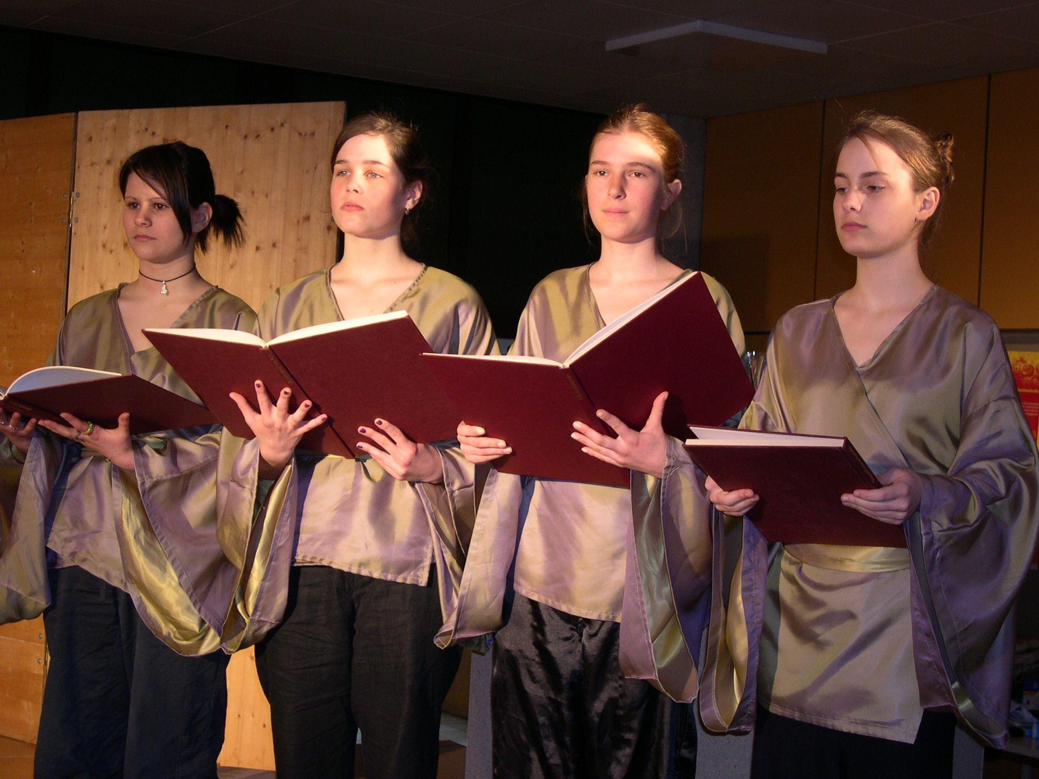 Schüler des BORG Egg präsentieren Textpassagen und begleiten musikalisch.