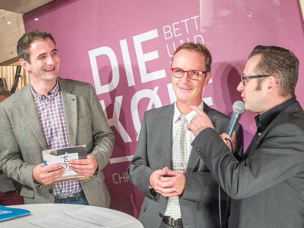 Shopbesitzer Christian Leidinger, Stadtrat Guntram Mäser und Philipp Wüstner